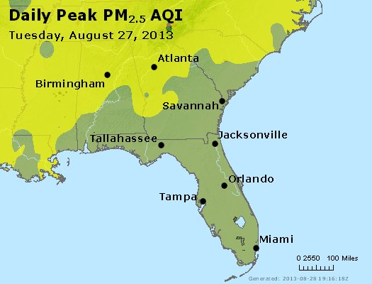Peak Particles PM<sub>2.5</sub> (24-hour) - http://files.airnowtech.org/airnow/2013/20130827/peak_pm25_al_ga_fl.jpg