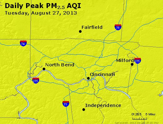 Peak Particles PM<sub>2.5</sub> (24-hour) - http://files.airnowtech.org/airnow/2013/20130827/peak_pm25_cincinnati_oh.jpg