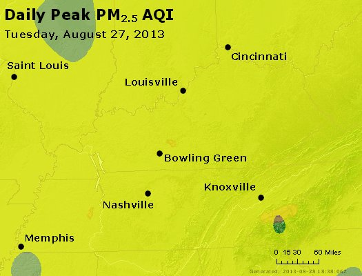Peak Particles PM<sub>2.5</sub> (24-hour) - http://files.airnowtech.org/airnow/2013/20130827/peak_pm25_ky_tn.jpg