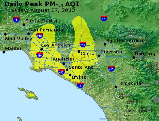 Peak Particles PM<sub>2.5</sub> (24-hour) - http://files.airnowtech.org/airnow/2013/20130827/peak_pm25_losangeles_ca.jpg