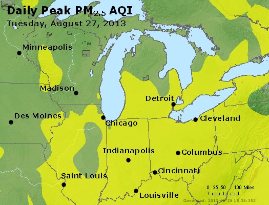 Peak Particles PM<sub>2.5</sub> (24-hour) - http://files.airnowtech.org/airnow/2013/20130827/peak_pm25_mi_in_oh.jpg