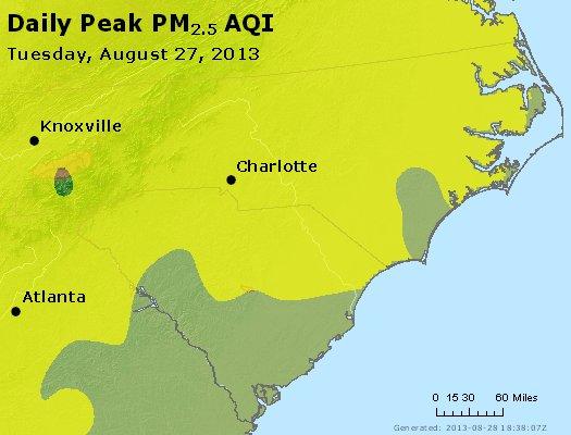 Peak Particles PM<sub>2.5</sub> (24-hour) - http://files.airnowtech.org/airnow/2013/20130827/peak_pm25_nc_sc.jpg