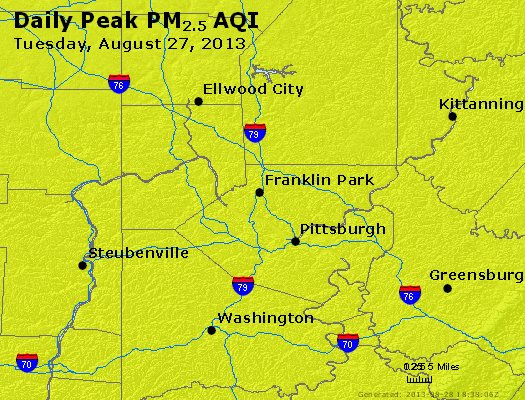 Peak Particles PM<sub>2.5</sub> (24-hour) - http://files.airnowtech.org/airnow/2013/20130827/peak_pm25_pittsburgh_pa.jpg