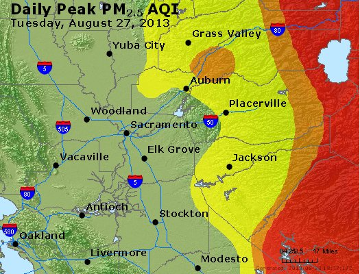 Peak Particles PM<sub>2.5</sub> (24-hour) - http://files.airnowtech.org/airnow/2013/20130827/peak_pm25_sacramento_ca.jpg