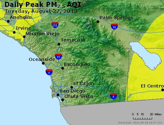 Peak Particles PM<sub>2.5</sub> (24-hour) - http://files.airnowtech.org/airnow/2013/20130827/peak_pm25_sandiego_ca.jpg
