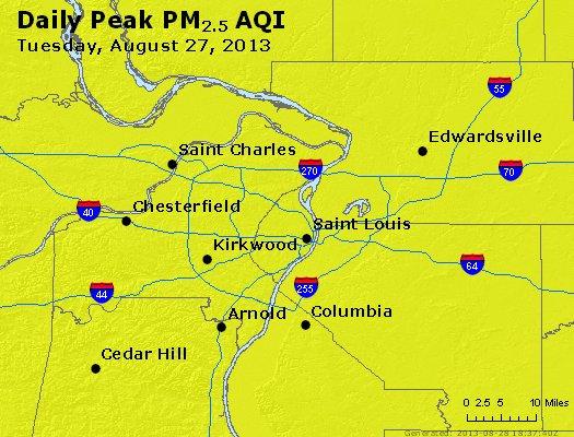 Peak Particles PM<sub>2.5</sub> (24-hour) - http://files.airnowtech.org/airnow/2013/20130827/peak_pm25_stlouis_mo.jpg
