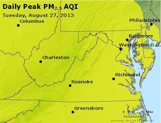 Peak Particles PM<sub>2.5</sub> (24-hour) - http://files.airnowtech.org/airnow/2013/20130827/peak_pm25_va_wv_md_de_dc.jpg