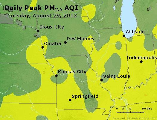 Peak Particles PM<sub>2.5</sub> (24-hour) - http://files.airnowtech.org/airnow/2013/20130829/peak_pm25_ia_il_mo.jpg