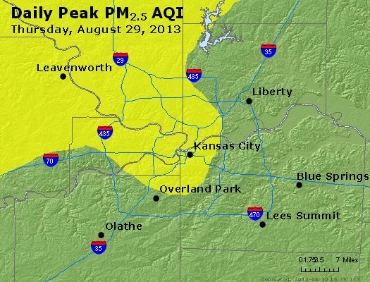 Peak Particles PM<sub>2.5</sub> (24-hour) - http://files.airnowtech.org/airnow/2013/20130829/peak_pm25_kansascity_mo.jpg