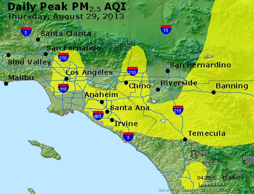 Peak Particles PM<sub>2.5</sub> (24-hour) - http://files.airnowtech.org/airnow/2013/20130829/peak_pm25_losangeles_ca.jpg