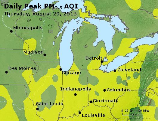 Peak Particles PM<sub>2.5</sub> (24-hour) - http://files.airnowtech.org/airnow/2013/20130829/peak_pm25_mi_in_oh.jpg