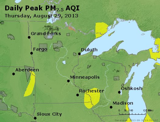 Peak Particles PM<sub>2.5</sub> (24-hour) - http://files.airnowtech.org/airnow/2013/20130829/peak_pm25_mn_wi.jpg