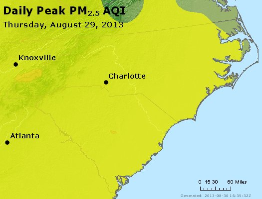 Peak Particles PM<sub>2.5</sub> (24-hour) - http://files.airnowtech.org/airnow/2013/20130829/peak_pm25_nc_sc.jpg