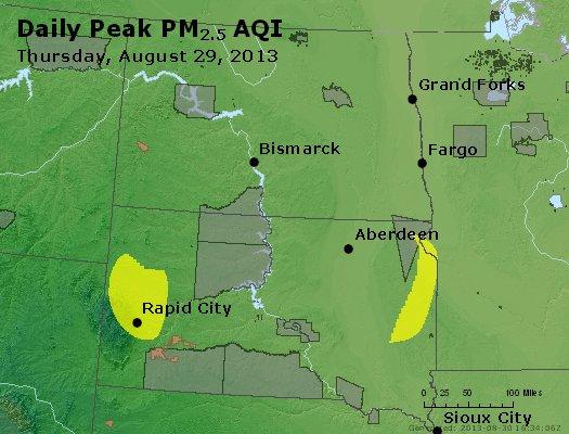 Peak Particles PM<sub>2.5</sub> (24-hour) - http://files.airnowtech.org/airnow/2013/20130829/peak_pm25_nd_sd.jpg