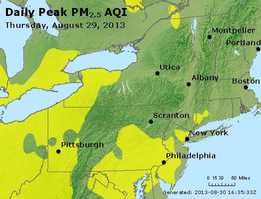 Peak Particles PM<sub>2.5</sub> (24-hour) - http://files.airnowtech.org/airnow/2013/20130829/peak_pm25_ny_pa_nj.jpg