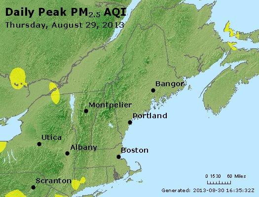 Peak Particles PM<sub>2.5</sub> (24-hour) - http://files.airnowtech.org/airnow/2013/20130829/peak_pm25_vt_nh_ma_ct_ri_me.jpg
