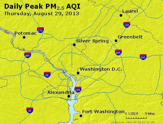 Peak Particles PM<sub>2.5</sub> (24-hour) - http://files.airnowtech.org/airnow/2013/20130829/peak_pm25_washington_dc.jpg
