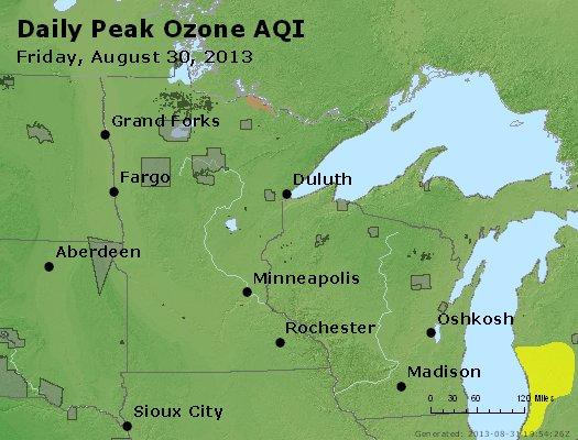 Peak Ozone (8-hour) - http://files.airnowtech.org/airnow/2013/20130830/peak_o3_mn_wi.jpg