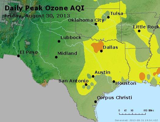 Peak Ozone (8-hour) - http://files.airnowtech.org/airnow/2013/20130830/peak_o3_tx_ok.jpg