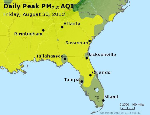 Peak Particles PM<sub>2.5</sub> (24-hour) - http://files.airnowtech.org/airnow/2013/20130830/peak_pm25_al_ga_fl.jpg