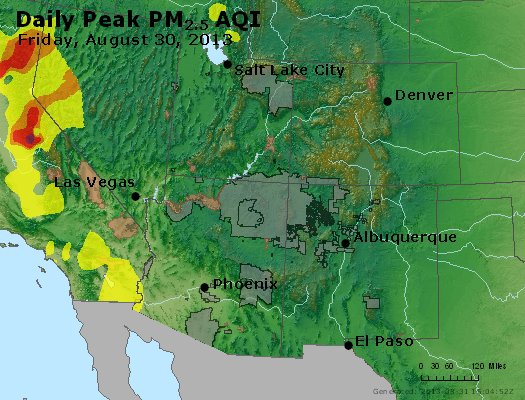 Peak Particles PM<sub>2.5</sub> (24-hour) - http://files.airnowtech.org/airnow/2013/20130830/peak_pm25_co_ut_az_nm.jpg