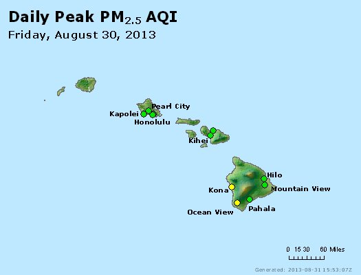 Peak Particles PM<sub>2.5</sub> (24-hour) - http://files.airnowtech.org/airnow/2013/20130830/peak_pm25_hawaii.jpg