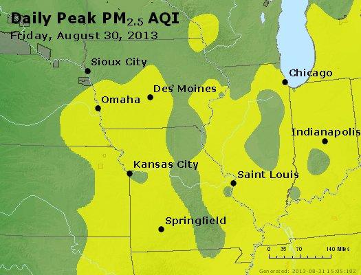 Peak Particles PM<sub>2.5</sub> (24-hour) - http://files.airnowtech.org/airnow/2013/20130830/peak_pm25_ia_il_mo.jpg