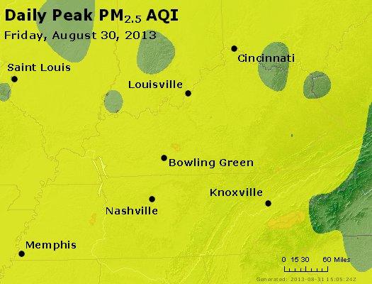 Peak Particles PM<sub>2.5</sub> (24-hour) - http://files.airnowtech.org/airnow/2013/20130830/peak_pm25_ky_tn.jpg
