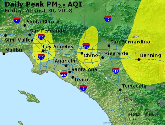Peak Particles PM<sub>2.5</sub> (24-hour) - http://files.airnowtech.org/airnow/2013/20130830/peak_pm25_losangeles_ca.jpg