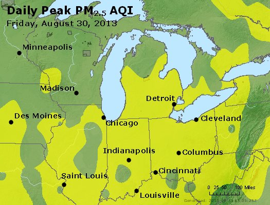 Peak Particles PM<sub>2.5</sub> (24-hour) - http://files.airnowtech.org/airnow/2013/20130830/peak_pm25_mi_in_oh.jpg