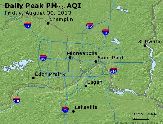 Peak Particles PM<sub>2.5</sub> (24-hour) - http://files.airnowtech.org/airnow/2013/20130830/peak_pm25_minneapolis_mn.jpg