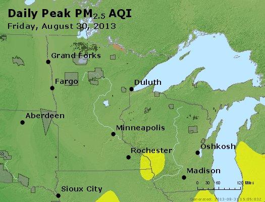 Peak Particles PM<sub>2.5</sub> (24-hour) - http://files.airnowtech.org/airnow/2013/20130830/peak_pm25_mn_wi.jpg