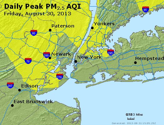 Peak Particles PM<sub>2.5</sub> (24-hour) - http://files.airnowtech.org/airnow/2013/20130830/peak_pm25_newyork_ny.jpg
