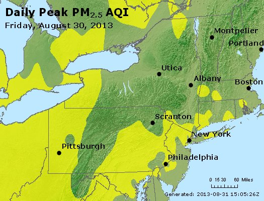 Peak Particles PM<sub>2.5</sub> (24-hour) - http://files.airnowtech.org/airnow/2013/20130830/peak_pm25_ny_pa_nj.jpg