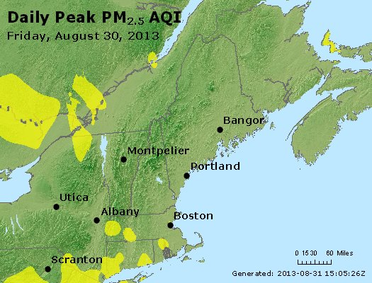 Peak Particles PM<sub>2.5</sub> (24-hour) - http://files.airnowtech.org/airnow/2013/20130830/peak_pm25_vt_nh_ma_ct_ri_me.jpg