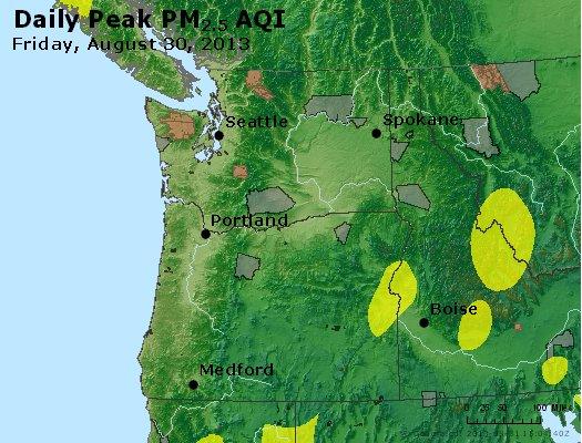 Peak Particles PM<sub>2.5</sub> (24-hour) - http://files.airnowtech.org/airnow/2013/20130830/peak_pm25_wa_or.jpg