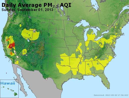 Peak Particles PM<sub>2.5</sub> (24-hour) - http://files.airnowtech.org/airnow/2013/20130901/peak_pm25_usa.jpg