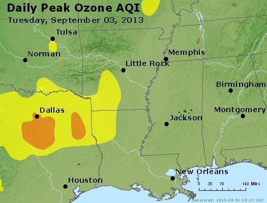 Peak Ozone (8-hour) - http://files.airnowtech.org/airnow/2013/20130903/peak_o3_ar_la_ms.jpg
