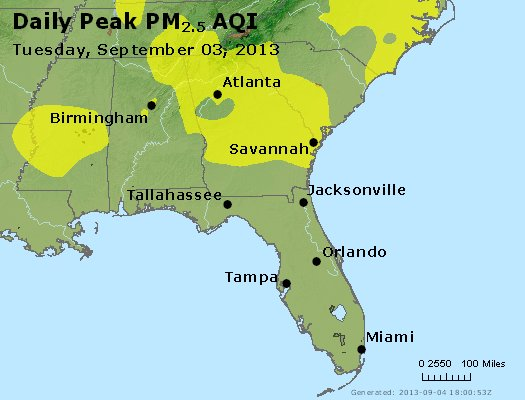 Peak Particles PM<sub>2.5</sub> (24-hour) - http://files.airnowtech.org/airnow/2013/20130903/peak_pm25_al_ga_fl.jpg
