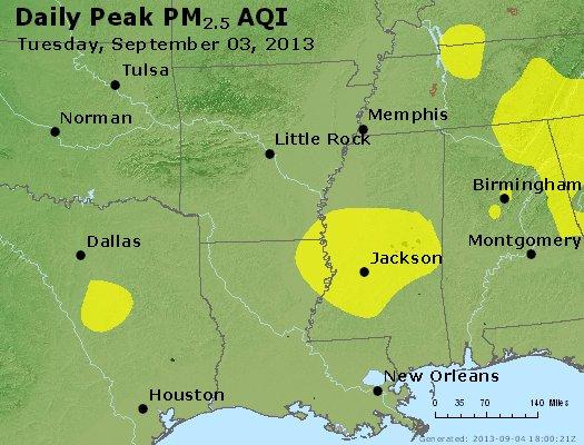 Peak Particles PM<sub>2.5</sub> (24-hour) - http://files.airnowtech.org/airnow/2013/20130903/peak_pm25_ar_la_ms.jpg