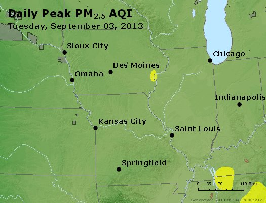 Peak Particles PM<sub>2.5</sub> (24-hour) - http://files.airnowtech.org/airnow/2013/20130903/peak_pm25_ia_il_mo.jpg