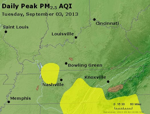 Peak Particles PM<sub>2.5</sub> (24-hour) - http://files.airnowtech.org/airnow/2013/20130903/peak_pm25_ky_tn.jpg