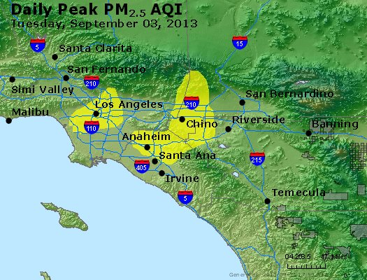 Peak Particles PM<sub>2.5</sub> (24-hour) - http://files.airnowtech.org/airnow/2013/20130903/peak_pm25_losangeles_ca.jpg