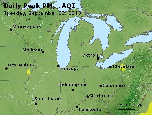 Peak Particles PM<sub>2.5</sub> (24-hour) - http://files.airnowtech.org/airnow/2013/20130903/peak_pm25_mi_in_oh.jpg