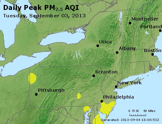 Peak Particles PM<sub>2.5</sub> (24-hour) - http://files.airnowtech.org/airnow/2013/20130903/peak_pm25_ny_pa_nj.jpg