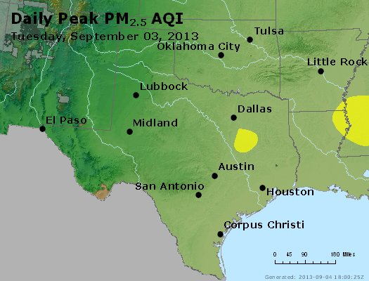 Peak Particles PM<sub>2.5</sub> (24-hour) - http://files.airnowtech.org/airnow/2013/20130903/peak_pm25_tx_ok.jpg