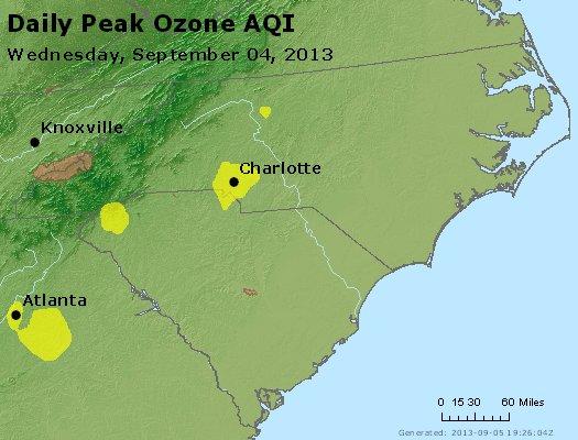 Peak Ozone (8-hour) - http://files.airnowtech.org/airnow/2013/20130904/peak_o3_nc_sc.jpg