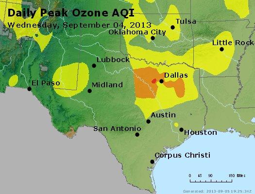 Peak Ozone (8-hour) - http://files.airnowtech.org/airnow/2013/20130904/peak_o3_tx_ok.jpg