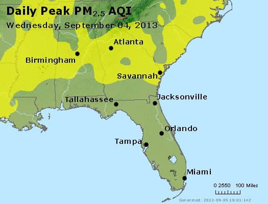 Peak Particles PM<sub>2.5</sub> (24-hour) - http://files.airnowtech.org/airnow/2013/20130904/peak_pm25_al_ga_fl.jpg