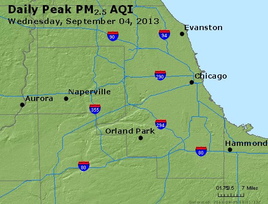 Peak Particles PM<sub>2.5</sub> (24-hour) - http://files.airnowtech.org/airnow/2013/20130904/peak_pm25_chicago_il.jpg